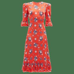 Semaine tastemaker Matilda Goad wears falconetti silk midi dress