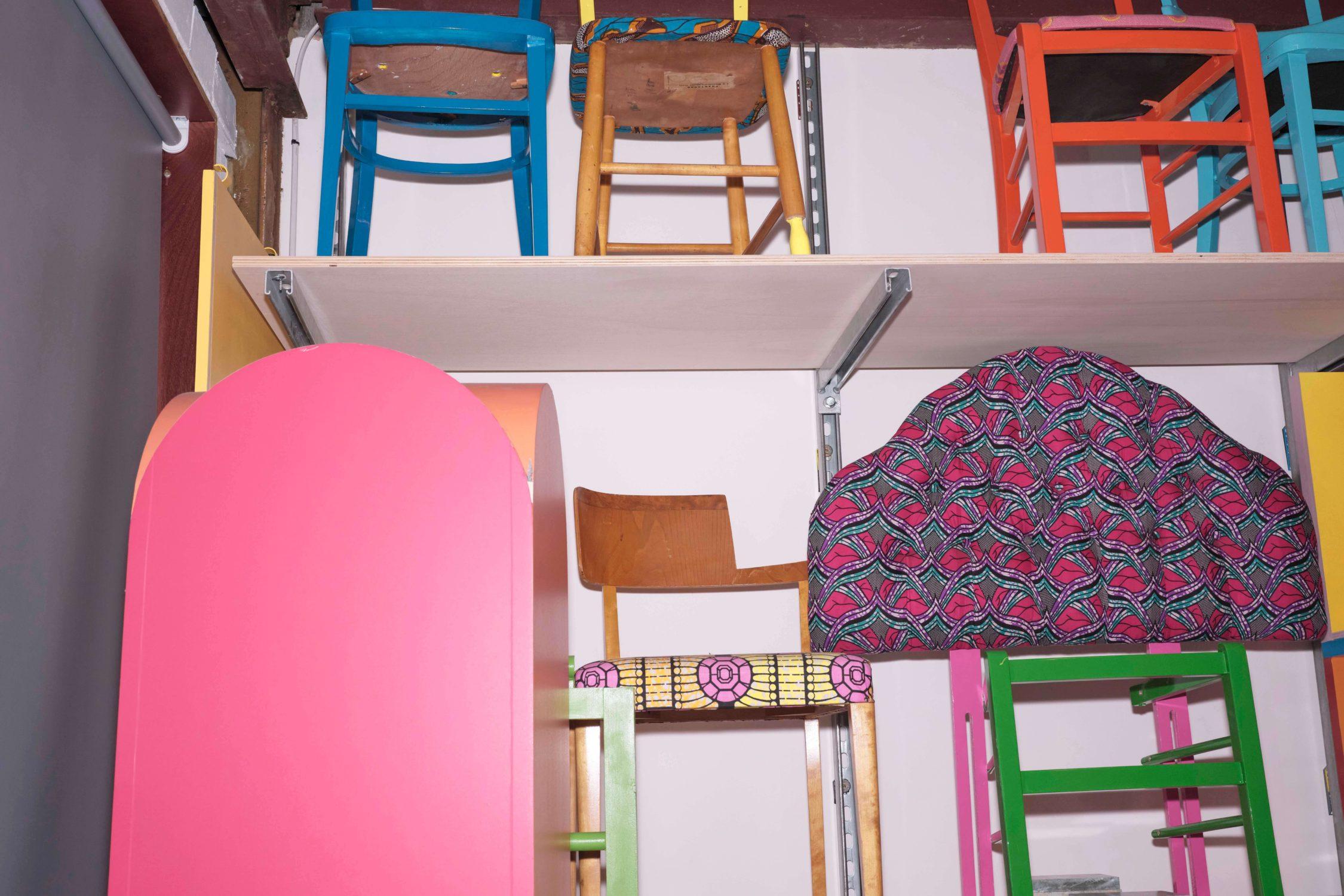 Semaine tastemaker Yinka Ilori colourful chair by Jermaine Francis