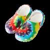Semaine tastemaker Yinka Ilori wears tie-dye graphic clog by Crocs Classic