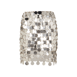 Semaine tastemaker Paris Hilton recommends chainmail mini skirt by Paco Rabanne